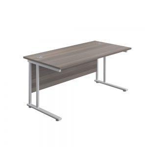 Jemini Rectangular Cantilever Desk 1400x600x730mm Grey Oak/White KF806394 Office Plus #1 in Swords, Dublin, Ireland.