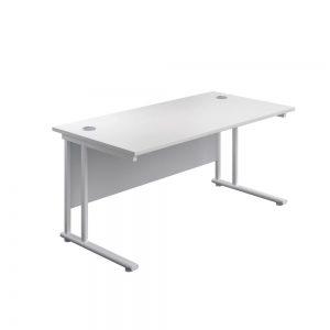 Jemini Rectangular Cantilever Desk 1400x600x730mm White/White KF806417Office Plus #1 in Swords, Dublin, Ireland.