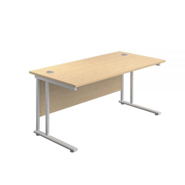 Jemini Rectangular Cantilever Desk 1400x600x730mm Maple/White KF806424 Office Plus #1 in Swords, Dublin, Ireland.