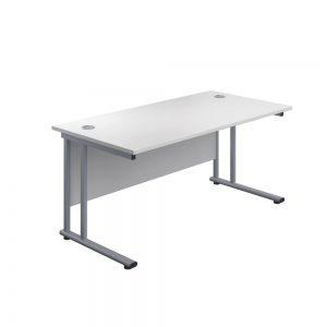 Jemini Rectangular Cantilever Desk 1600x600x730mm White/Silver KF806479 Office Plus #1 in Swords, Dublin, Ireland.