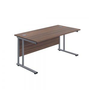 Jemini Rectangular Cantilever Desk 1600x600x730mm Dark Walnut/Silver KF806493 Office Plus #1 in Swords, Dublin, Ireland.