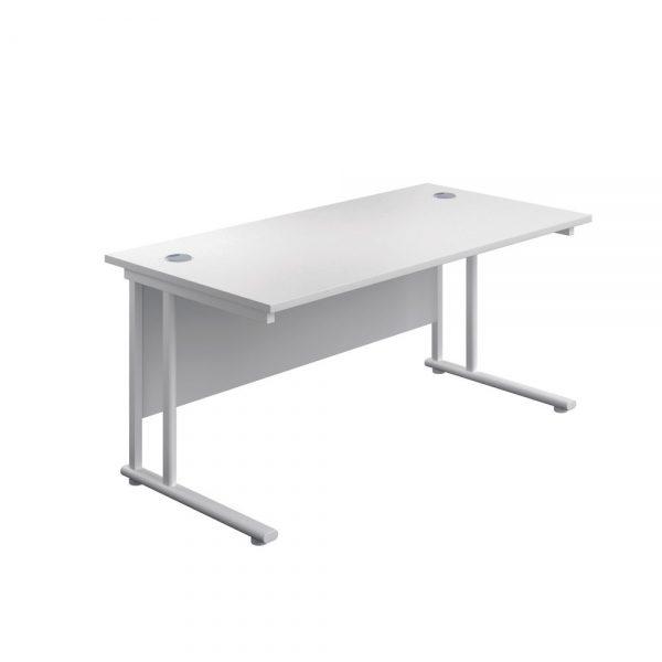 Jemini Rectangular Cantilever Desk 1600x600x730mm White/White KF806530 Office Plus #1 in Swords, Dublin, Ireland.