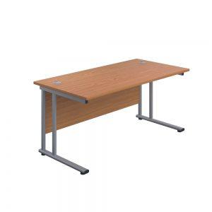 Jemini Rectangular Cantilever Desk 1600x800x730mm Nova Oak/Silver KF807063 office Plus #1 in Swords, Dublin, Ireland.