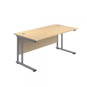 Jemini Rectangular Cantilever Desk 1600x800x730mm Maple/Silver KF807087 Office Plus #1 in Swords, Dublin, Ireland.
