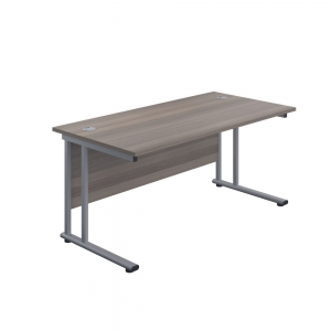 Jemini Rectangular Cantilever Desk 1400x600x730mm Grey Oak/Silver KF806332 office Plus #1 In Swords, Dublin, Ireland.