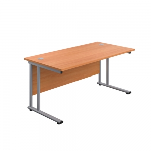 Jemini Rectangular Cantilever Desk 1400x800x730mm Beech/Silver KF806929 Office Plus #1 in Swords, Dublin, Ireland.