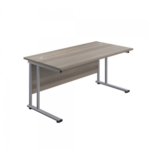 Jemini Rectangular Cantilever Desk 1600x800x730mm Grey Oak/Silver KF807056 Office plus #1 in Swords, Dublin, Ireland.