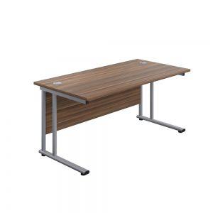 Jemini Rectangular Cantilever Desk1600x800x730mm Dark Walnut/Silver KF807094 office Plus #1 in Swords, Dublin, Ireland.