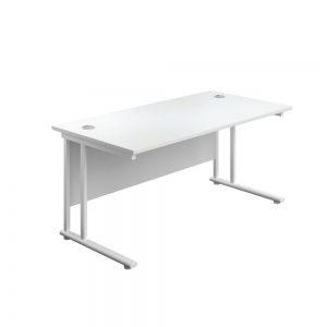 Jemini Rectangular Cantilever Desk 1600x800x730mm White/White KF807131 office Plus #1 in Swords, Dublin, Ireland.