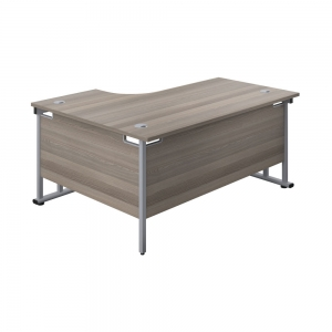 Jemini Radial Right Hand Cantilever Desk 1600x1200x730mm Grey Oak/Silver KF807599 Office Plus #1 in Swords, Dublin, Ireland.