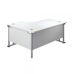 Jemini Radial Right Hand Cantilever Desk 1600x1200x730mm White/Silver KF807612 Office Plus #1 in Swords, Dublin, Ireland.