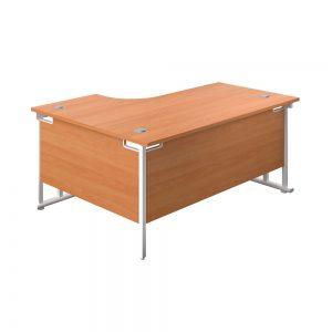 Jemini Radial Right Hand Cantilever Desk 1600x1200x730mm Beech/White Office Plus #1 in Swords, Dublin, Ireland.