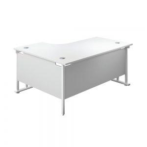Jemini Radial Right Hand Cantilever Desk 1600x1200x730mm White/White KF807735 Office Plus #1 in Swords, Dublin, Ireland.