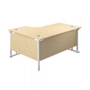 Jemini Radial Right Hand Cantilever Desk 1600x1200x730mm Maple/White KF807742 Office Plus #1 in Swords, Dublin, Ireland.
