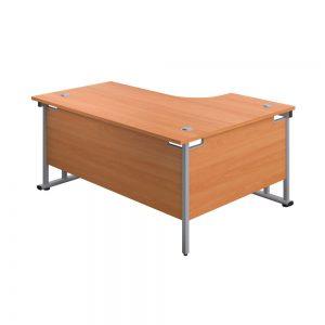 Jemini Radial Left Hand Cantilever Desk 1800x1200x730mm Beech/Silver KF807766 Office Plus #1 in Swords,Dublin, Ireland.