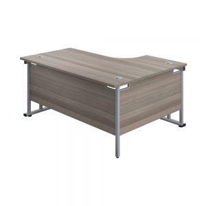 Jemini Radial Left Hand Cantilever Desk 1800x1200x730mm Grey Oak/Silver KF807773 office Plus #1 in Swords, Dublin, Ireland.