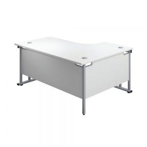 Jemini Radial Left Hand Cantilever Desk 1800x1200x730mm White/Silver KF807797 Office Plus #1 in Swords, Dublin, Ireland.