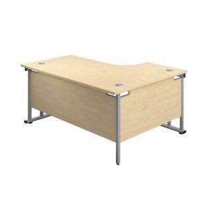 Jemini Radial Left Hand Cantilever Desk 1800x1200x730mm Maple/Silver KF807803 Office Plus #1 in Swords, Dublin, Ireland.