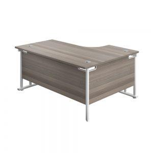 Jemini Radial Left Hand Cantilever Desk 1800x1200x730mm Grey Oak/White KF807896 Office Plus #1 in swords, Dublin, ireland.