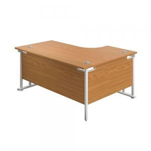 Jemini Radial Left Hand Cantilever Desk 1800x1200x730mm Nova Oak/White KF807902 Office Plus #1 In Swords, Dublin, Ireland.