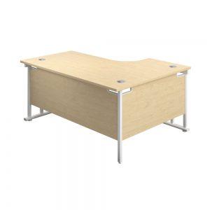 Jemini Radial Left Hand Cantilever Desk 1800x1200x730mm Maple/White KF807926 Office Plus #1 in Swords, Dublin, Ireland