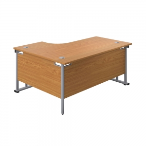 Jemini Radial Right Hand Cantilever Desk 1600x1200x730mm Nova Oak/Silver KF807605 Office Plus #1 in Swords, Dublin, Ireland.