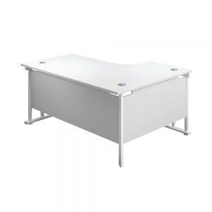 Jemini Radial Left Hand Cantilever Desk 1800x1200x730mm White/White KF807919 Office Plus #1 in Swords, Dublin, Ireland
