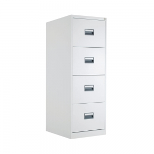 Talos 4 Drawer Filing Cabinet 465x620x1300mm White KF78773 Talos 4 Drawer Filing Cabinet 465x620x1300mm White KF78773 With drawers that are 100% extendable for full access to the contents, these 4 drawer filing cabinets have a fully welded construction and lockable doors for use in virtually any environment. Suitable for use with both A4 and Foolscap files, the unit also benefits from an anti-tilt system that only allows one drawer to be opened at a time and has plastic inset drawer handles incorporating a card holder for easy identification and labelling. Each drawer has a weight capacity of 40kg. Contents not included. Fully welded construction and epoxy powder coated finish Drawers are 100% extendable for full access and extra capacity Suitable for use with both A4 and Foolscap suspension files Lockable for added security Integrated anti-tilt system; allows only one drawer to be opened at a time Plastic inset drawer handles incorporating a card holder for easy identification and labelling Dimensions: W465 x D620 x H1300mm Colour: White #1 in Swords, Dublin, Ireland.